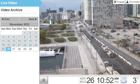 Screen caption of the Waterfront web cameras recording street construction outside the museum.