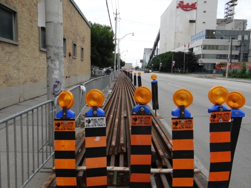 Torn up TTC rails as part of the construction for the Harbourfront Revitalization Project