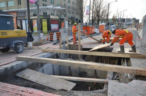 Hydro chamber construction on Queens Quay West